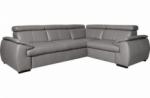 canapé d'angle en 100% cuir de luxe italien , 5 places cintia, couleur gris clair, angle droit