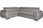 canapé d'angle en 100% cuir de luxe italien , 5 places cintia, couleur gris clair, angle gauche
