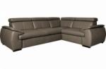 canapé d'angle en 100% cuir de luxe italien , 5 places cintia, couleur taupe, angle droit