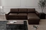 canapé d'angle en 100% tout cuir italien de luxe 5 places convertible et coffre, chocolat, angle droit, clinton