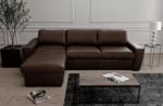 canapé d'angle en 100% tout cuir italien de luxe 5 places convertible et coffre, chocolat, angle gauche, clinton