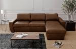 canapé d'angle en 100% tout cuir italien de luxe 5 places convertible et coffre, marron foncé, angle droit, clinton