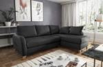 canapé d'angle convertible en cuir de luxe italien , 5 places conforia, noir, angle droit