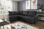 canapé d'angle convertible en cuir de luxe italien , 5 places conforia, noir, angle gauche