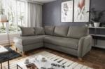 canapé d'angle convertible en cuir de luxe italien , 5 places conforia, taupe, angle gauche