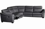 canapé d'angle double relax en 100% tout cuir épais de luxe italien avec 2 relax électrique, 6/7 places, dakota, anthracite