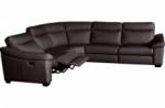canapé d'angle double relax en 100% tout cuir épais de luxe italien avec 2 relax électrique, 6/7 places, dakota, chocolat