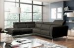 canapé d'angle relax en 100% tout cuir épais de luxe italien avec relax électrique, 5/6 places dalbert, couleur anthracite, angle gauche