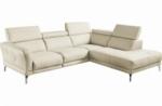 canapé d'angle relax en 100% tout cuir épais de luxe italien avec relax électrique, 5/6 places dalbert, couleur crème, angle droit