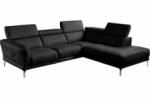 canapé d'angle relax en 100% tout cuir épais de luxe italien avec relax électrique, 5/6 places dalbert, couleur noir, angle droit