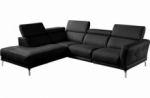 canapé d'angle relax en 100% tout cuir épais de luxe italien avec relax électrique, 5/6 places dalbert, couleur noir, angle gauche
