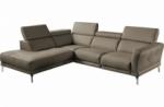 - canapé d'angle relax en 100% tout cuir épais de luxe italien avec relax électrique, 5/6 places dalbert, couleur taupe, angle gauche