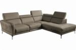 canapé d'angle relax en 100% tout cuir épais de luxe italien avec relax électrique, 5/6 places dalbert, couleur taupe, angle droit