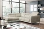 canapé d'angle en 100% tout cuir épais de luxe italien 5/6 places dalen, blanc cassé, angle gauche