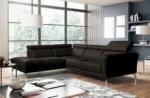 canapé d'angle en 100% tout cuir épais de luxe italien 5/6 places dalen, chocolat, angle gauche