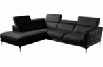 canapé d'angle en 100% tout cuir épais de luxe italien 5/6 places dalen, noir, angle gauche