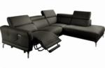 canapé d'angle relax en 100% tout cuir épais de luxe italien avec relax électrique, 5/6 places dali, anthracite, angle droit