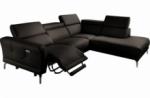 canapé d'angle relax en 100% tout cuir épais de luxe italien avec relax électrique, 5/6 places dali, chocolat, angle droit