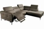 canapé d'angle relax en 100% tout cuir épais de luxe italien avec relax électrique, 5/6 places dali, taupe, angle droit