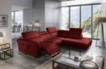 canapé d'angle relax en 100% tout cuir épais de luxe italien avec relax électrique, 5/6 places dali, rouge foncé, angle droit