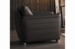 fauteuil 1 place en cuir italien buffle danemark, chocolat
