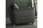 fauteuil 1 place en cuir italien buffle danemark, gris foncé