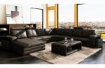 canapé d'angle en cuir italien 8 places diamant, noir