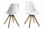 lot de 2 chaises design blanches avec pieds en bois, dixona