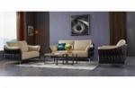 ensemble ensemble canapé 3 places et 2 places et fauteuil en cuir italien buffle dublin, couleur beige et liseret chocolat