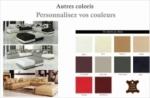 canapé d'angle en cuir italien 7/8 places elixir, couleurs personnalisées, angle droit, petite table bout de canapé offerte
