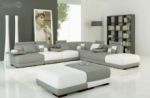 canapé d'angle en cuir italien 7/8 places elixir, gris clair et blanc.