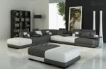 canapé d'angle en cuir italien 7/8 places elixir, gris foncé et blanc.