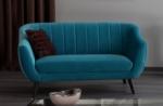 canapé elsa 2 places en tissu de qualité, couleur turquoise