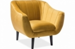 fauteuil elsa 1 place en tissu de qualité, couleur curry