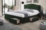 lit double en tissu velours de qualité elvira, vert, avec sommier à lattes, 160x200