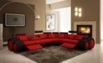 canapé d'angle en cuir italien 5/6 places petit excelia, rouge et noir angle droit.