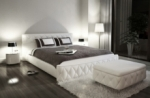 lit en cuir italien de luxe farniente, blanc.