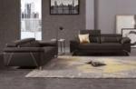 ensemble ensemble canapé 3 places et 2 places en cuir italien buffle granti, couleur chocolat et liseret beige