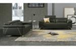 ensemble ensemble canapé 3 places et 2 places en cuir italien buffle granti, couleur gris foncé et liseret gris clair