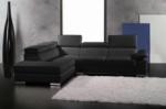 canapé d'angle en cuir italien 5 places helios, noir