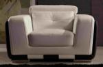 fauteuil 1 place en cuir italien buffle jason, blanc et chocolat