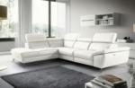 - canapé d'angle relax en 100% tout cuir épais de luxe italien avec relax électrique, 5/6 places kaster, blanc cassé, angle gauche