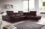 canapé d'angle relax en 100% tout cuir épais de luxe italien avec relax électrique, 5/6 places kaster, chocolat, angle droit