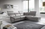 canapé d'angle relax en 100% tout cuir épais de luxe italien avec relax électrique, 5/6 places kaster, gris clair, angle droit
