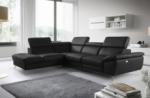 canapé d'angle relax en 100% tout cuir épais de luxe italien avec relax électrique, 5/6 places kaster, noir, angle gauche