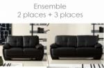 ensemble composé d'un canapé 3 places et d'un canapé 2 places.  leani, noir