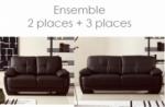 ensemble composé d'un canapé 3 places et d'un canapé 2 places.  leani, chocolat