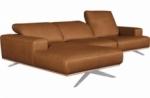 canapé d'angle en 100% tout cuir épais de luxe italien 5/6 places porto, couleur cognac, angle gauche