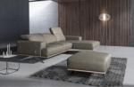 canapé d'angle en 100% tout cuir épais de luxe italien 5/6 places porto, gris, angle droit