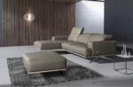 canapé d'angle en 100% tout cuir épais de luxe italien 5/6 places porto, gris, angle gauche